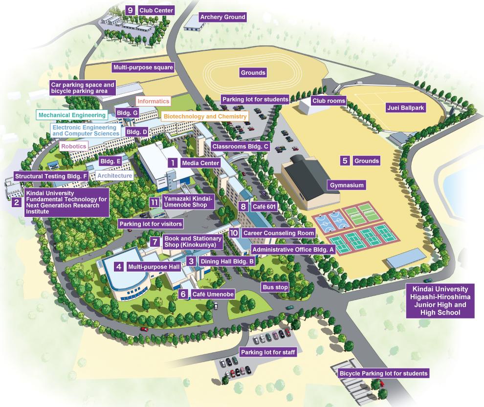 Campus Map Kindai University Faculty Of Engineering Hiroshima Campus