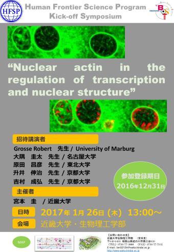 ドイツからロバート・グロッセ教授ほか、世界的なアクチン研究者を招いてHFSPキックオフシンポジウムを開催 1月26日(木)近畿大学和歌山キャンパスにて
