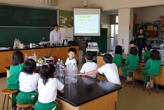 サツマイモを使ったメタンガスエネルギー実験授業 福島県川俣町立川俣小学校にて