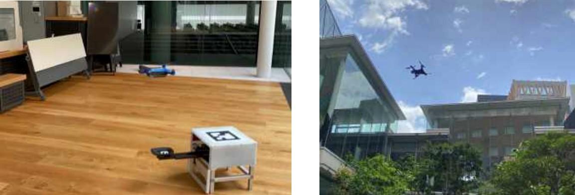近畿大学のキャンパスで、屋内外両用ドローンによる自動巡回警備の実証に成功 ~仮想の都市空間に見立てたキャンパスで、ドローンによる巡回警備の実用化をめざす~
