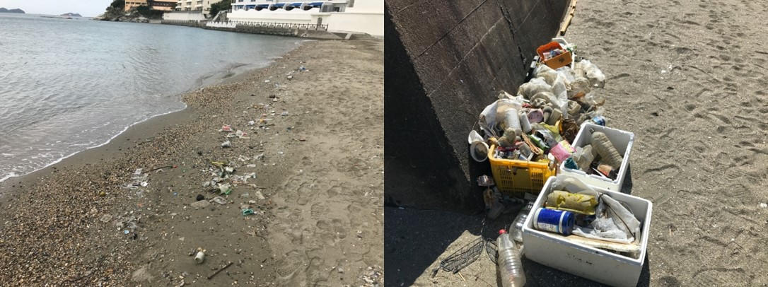 中学1年生が総合学習で海洋プラスチックごみ問題に取り組む 和歌浦・片男波海水浴場で漂着ごみの現地調査を実施